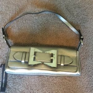 Brand new pewter color clutch